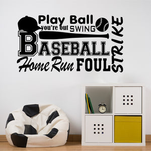 Sports Wall Decal Baseball Word Collage Kids Vinyl Lettering