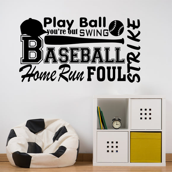 Wall Decal Baseball Word Collage