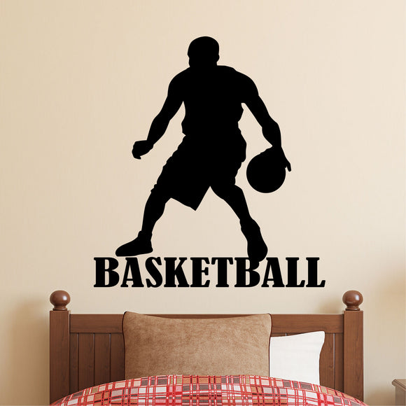 Sports Wall Decal Basketball Player Silhouette Kids Vinyl Lettering