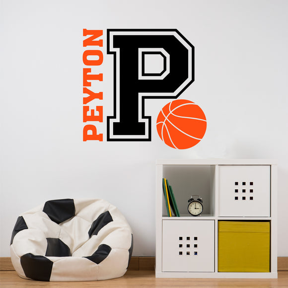 Sports Wall Decal Basketball Varsity Letter Custom Name Vinyl Lettering