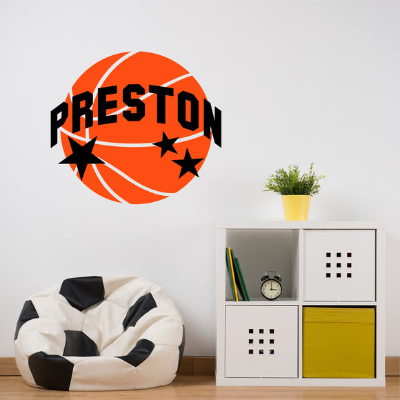 Sports Wall Decal Basketball Star Name Kids Bedroom Vinyl Wall Lettering