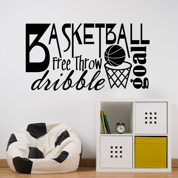Sports Wall Decal Basketball Word Collage Kids Vinyl Lettering