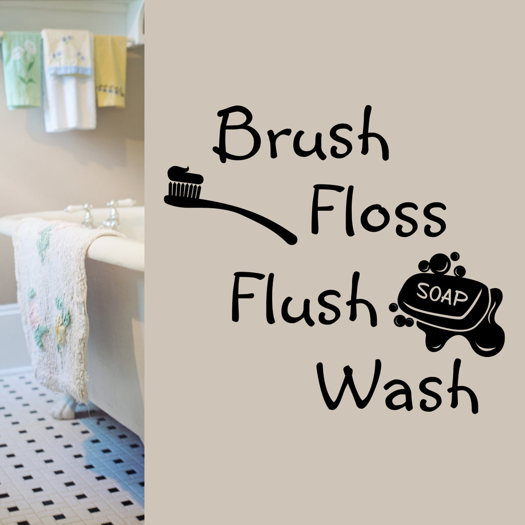 Brush Floss Flush Wash | Bathroom Rules Decal | Vinyl Wall Lettering