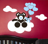 Nursery Wall Decal Cloud Bear Balloons Vinyl Art Mural Kit