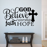 Christian Wall Decal Believe Word Collage Religious Vinyl Lettering
