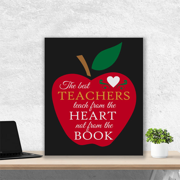 Hand Painted Canvas Wall Art Teachers Teach from the Heart Appreciation Gift