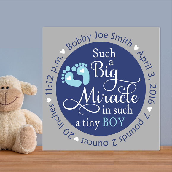 Custom Painted Canvas Boy Miracle Birth Announcement Nursery Wall Art