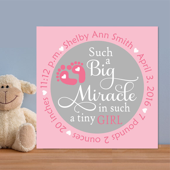 baby girl miracle birth custom canvas