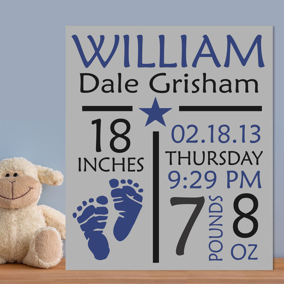 Custom Painted Canvas Baby Boy Birth Announcement Nursery Wall Art