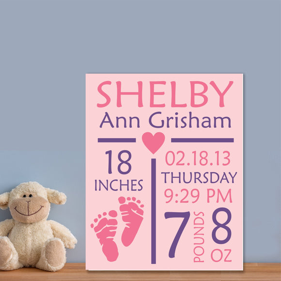custom girl birth announcement canvas