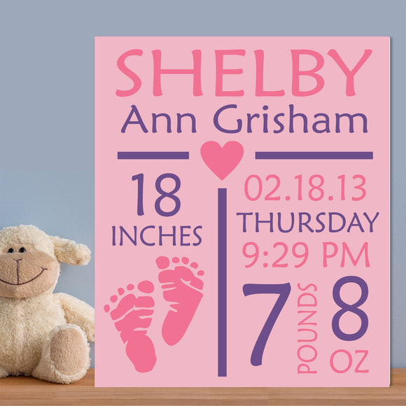 Custom Painted Canvas Baby Girl Birth Announcement Nursery Wall Art