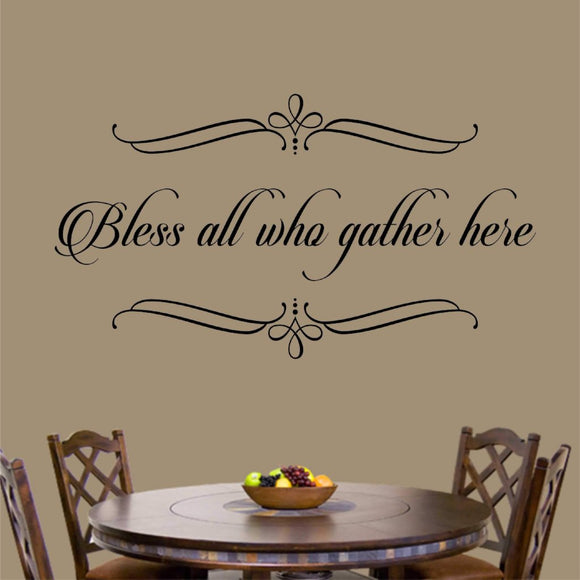 Christian Wall Decal Bless All Who Gather Here Religious Vinyl Lettering