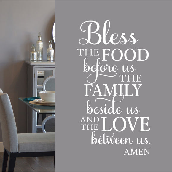 Wall Decal Bless Food Family Love