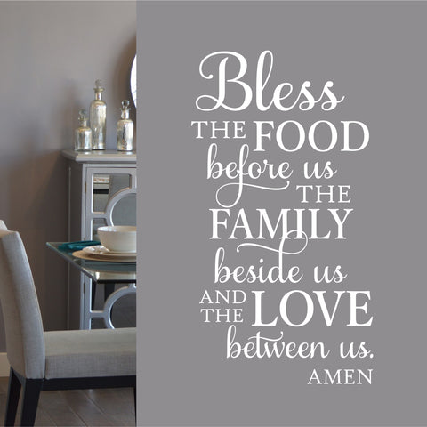 Bless Food Family Quote | Vinyl Wall Letters | Vinyl Wall Decals