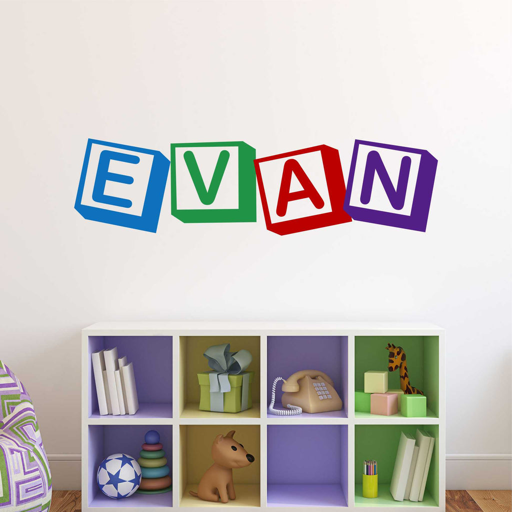 Multi Color Block Name | Vinyl Wall Decals | Wall Lettering