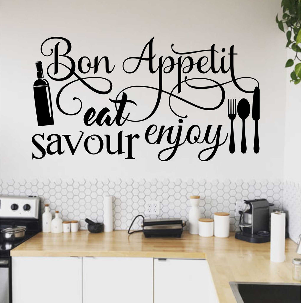 Bon Appetit Word Collage | Kitchen Decal | Vinyl Wall Lettering