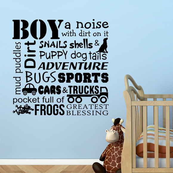 Definitions of a Boy wall decal