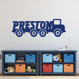Construction Truck Boy Name Wall Decal