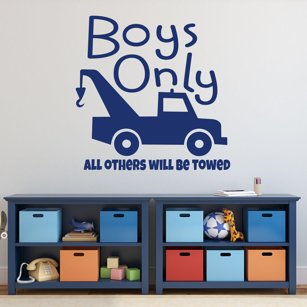 Boys Only Tow Truck Decal | Vinyl Wall Lettering | Wall Decals
