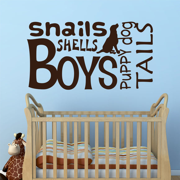 Nursery Wall Decal Boys Snails Shells Puppy Dog Vinyl Lettering
