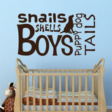 Nursery Boy Word Collage | Vinyl Wall Decals | Wall Lettering
