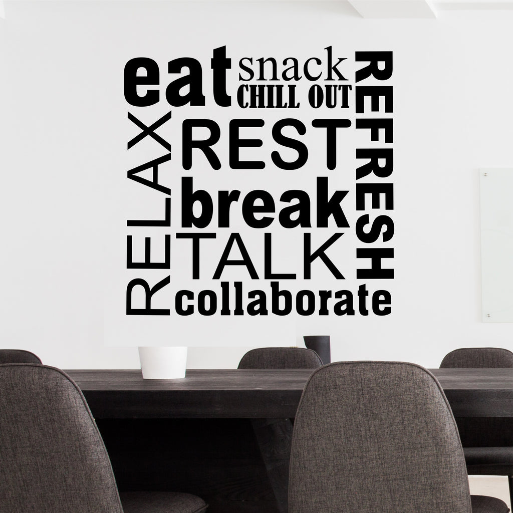 Break Room Word Collage Wall Lettering Vinyl Office Decals