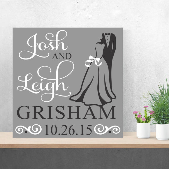 custom bride and groom canvas