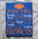 Sports Custom Hand Painted Football Family House Rules Canvas