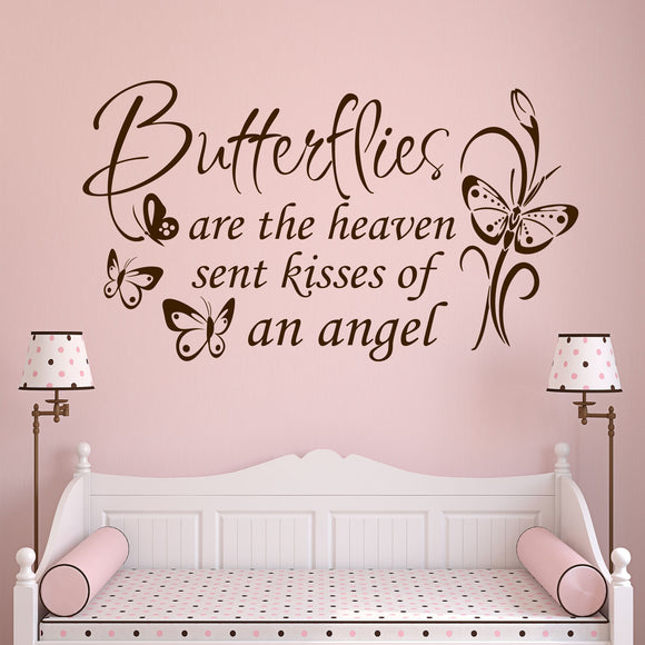 Girl Wall Decal Butterflies are Kisses Bedroom Nursery Vinyl Lettering