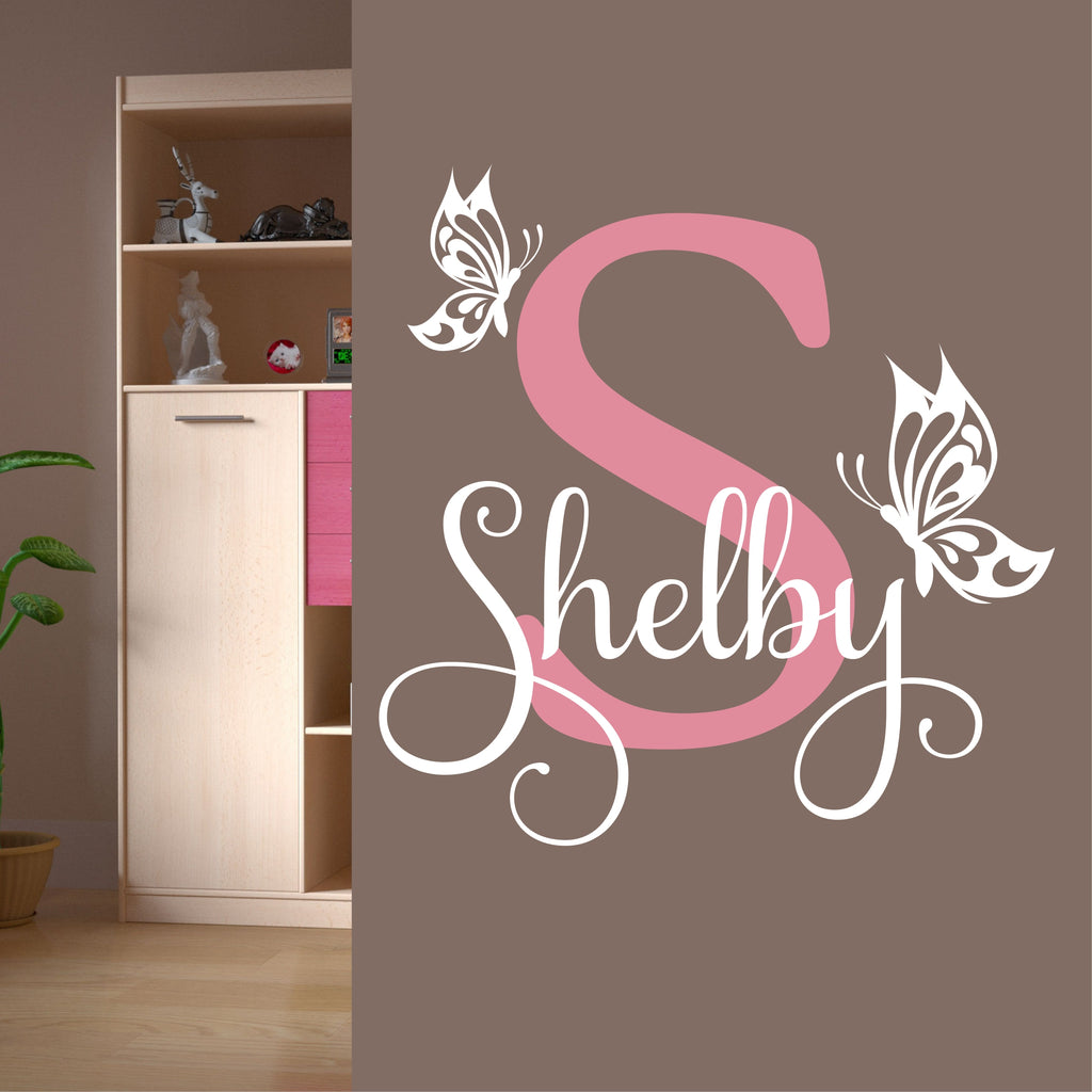 Butterfly Name Initial Decal | Vinyl Wall Lettering | Girl Teen Decor