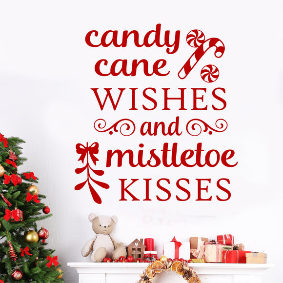 Christmas Wall Decal Candy Cane Wishes Mistletoe Kisses Lettering