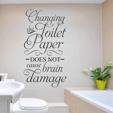 Changing the Toilet Paper | Humorous Decal | Vinyl Wall Lettering