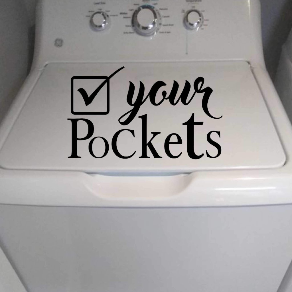Laundry Check Pockets | Wash Room Decal | Vinyl Wall Lettering