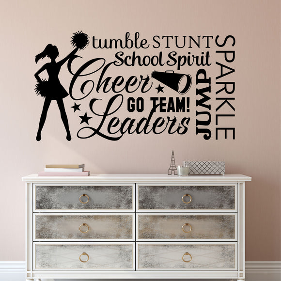 Sports Wall Decal Cheerleader Word Collage Cheerleading Vinyl Lettering