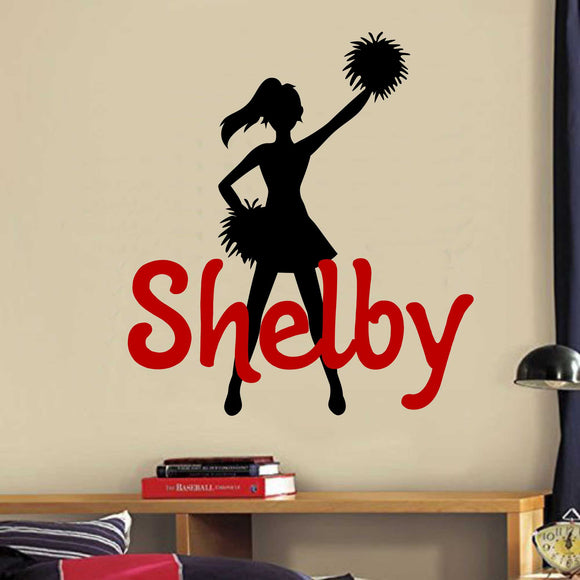 Sports Wall Decal Custom Name Cheerleader Silhouette Vinyl Lettering