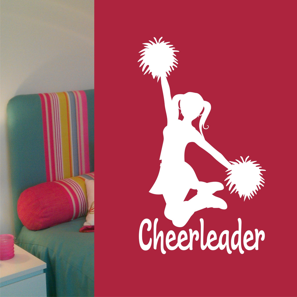 Cheerleader Pom Poms Jumping | Sports Decal | Vinyl Wall Lettering