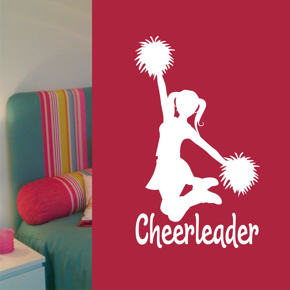 Sports Wall Decal Cheerleader Silhouette Cheerleading Vinyl Lettering
