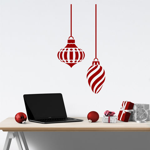Two Large Swirl Christmas Ornaments | Holiday Decal | Wall Quotes