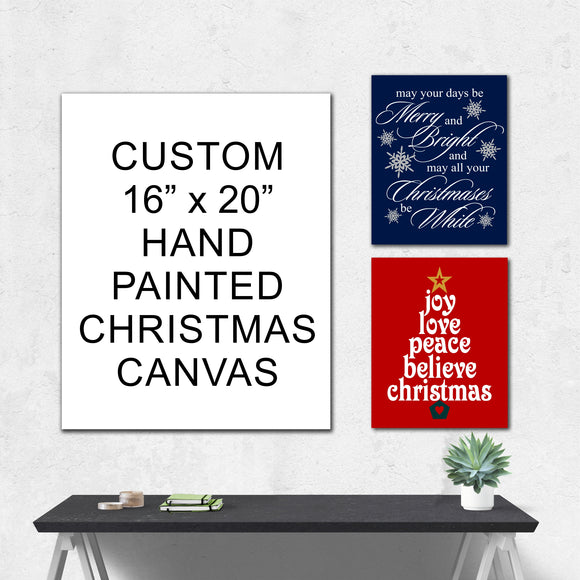 your custom hand painted christmas canvas