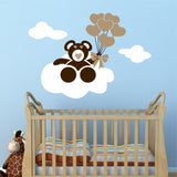Nursery Cloudy Bear Balloon Decal | Vinyl Wall Lettering | Wall Art