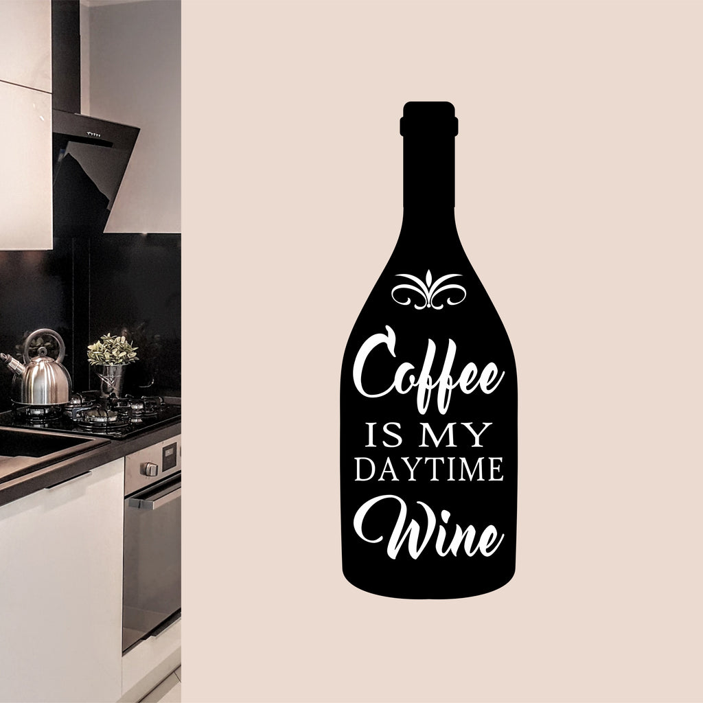 Coffee is Daytime Drink Decal | Vinyl Wall Lettering | Kitchen Quote