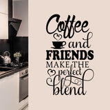 Coffee Friends Perfect Blend | Kitchen Decal | Vinyl Wall Lettering