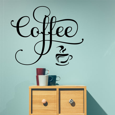 Fancy Coffee Vinyl Word | Kitchen Decal | Vinyl Wall Lettering