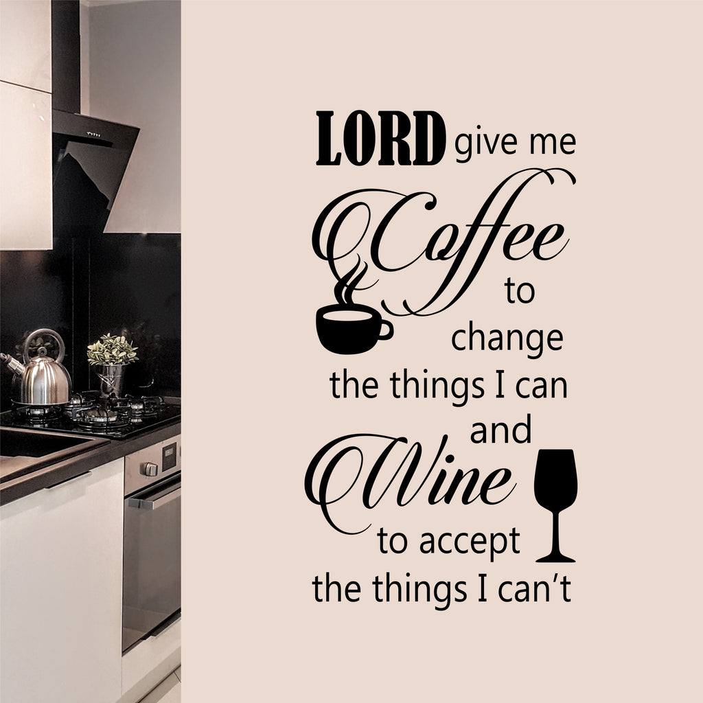 Coffee Serenity Prayer Quote | Vinyl Wall Lettering | Kitchen Decal