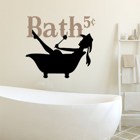 Cowgirl Silhouette Bath | Western Decal | Vinyl Wall Lettering