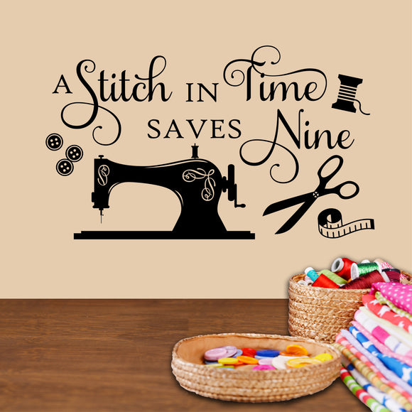 Craft Room Wall Decal Stitch in Time saves Nine