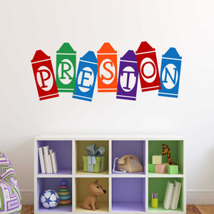 Playroom Wall Decal Multi Color Crayon Name