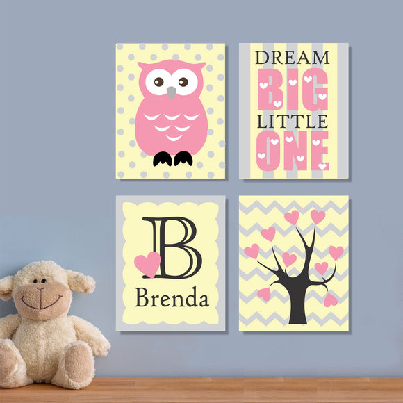 girl nursery owl canvas art
