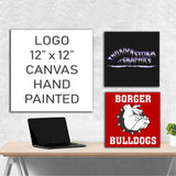 Custom Painted Logo | Hand Painted Canvas | Wall Art