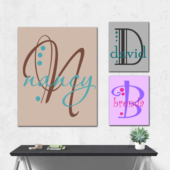 Custom Hand Painted Canvas Monogram Personalized Name Wall Art
